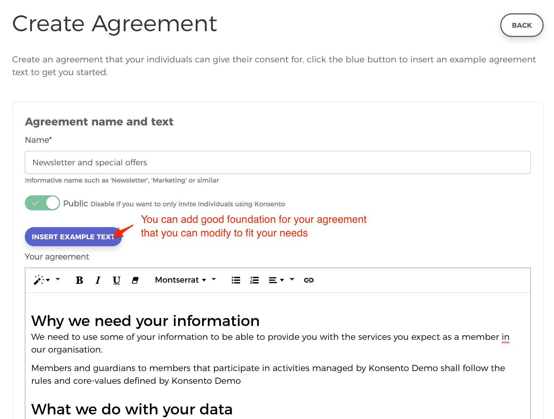 Create Agreement Form