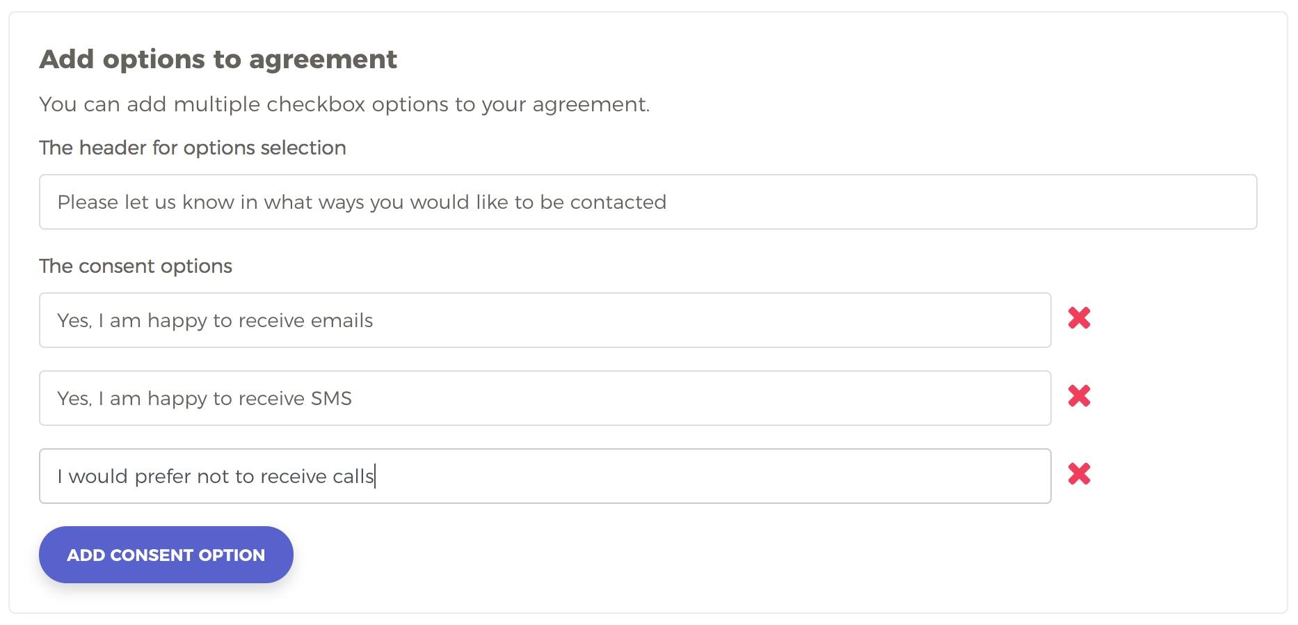 Create Agreement Options